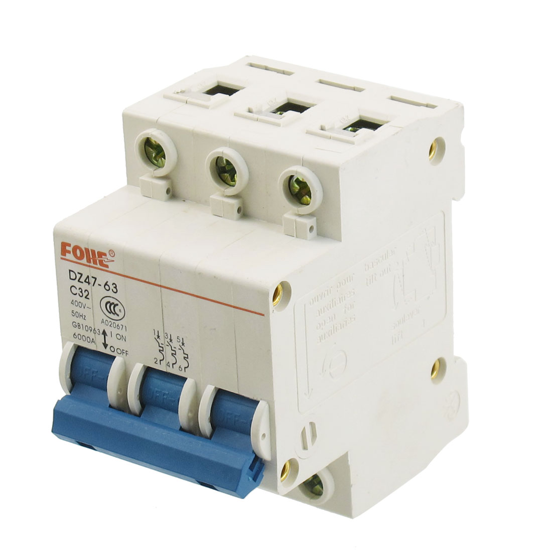AC 400V 32A Three Poles Overload Protection MCB Mini Circuit Breaker