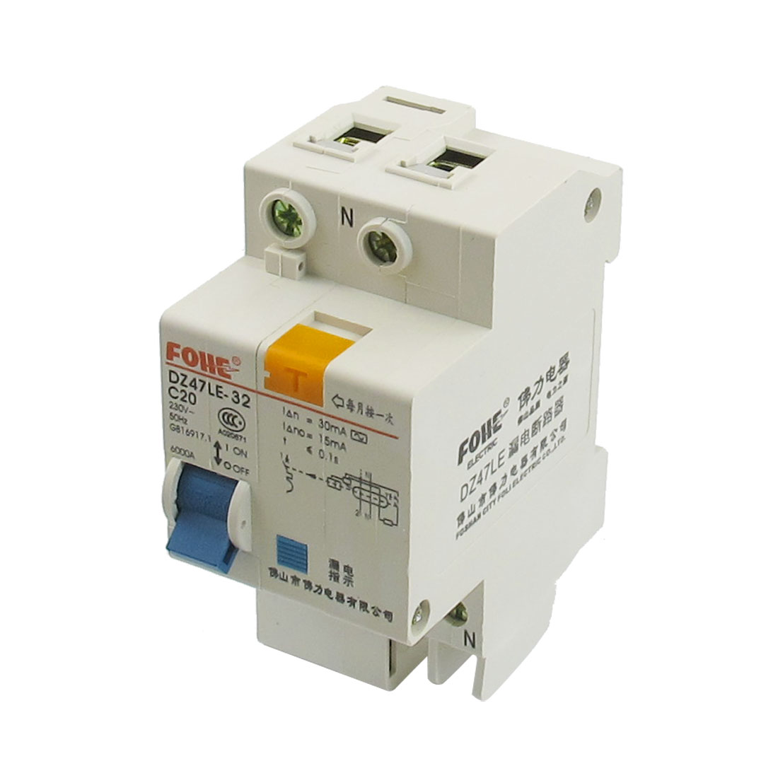 AC 230V 20A Single Pole Overload Protection Earth Leakage Circuit Breaker 1P+N