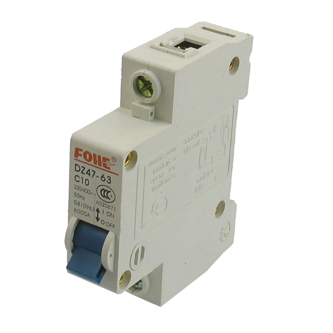 AC 400V 10A Single Pole Overload Protection MCB Mini Circuit Breaker