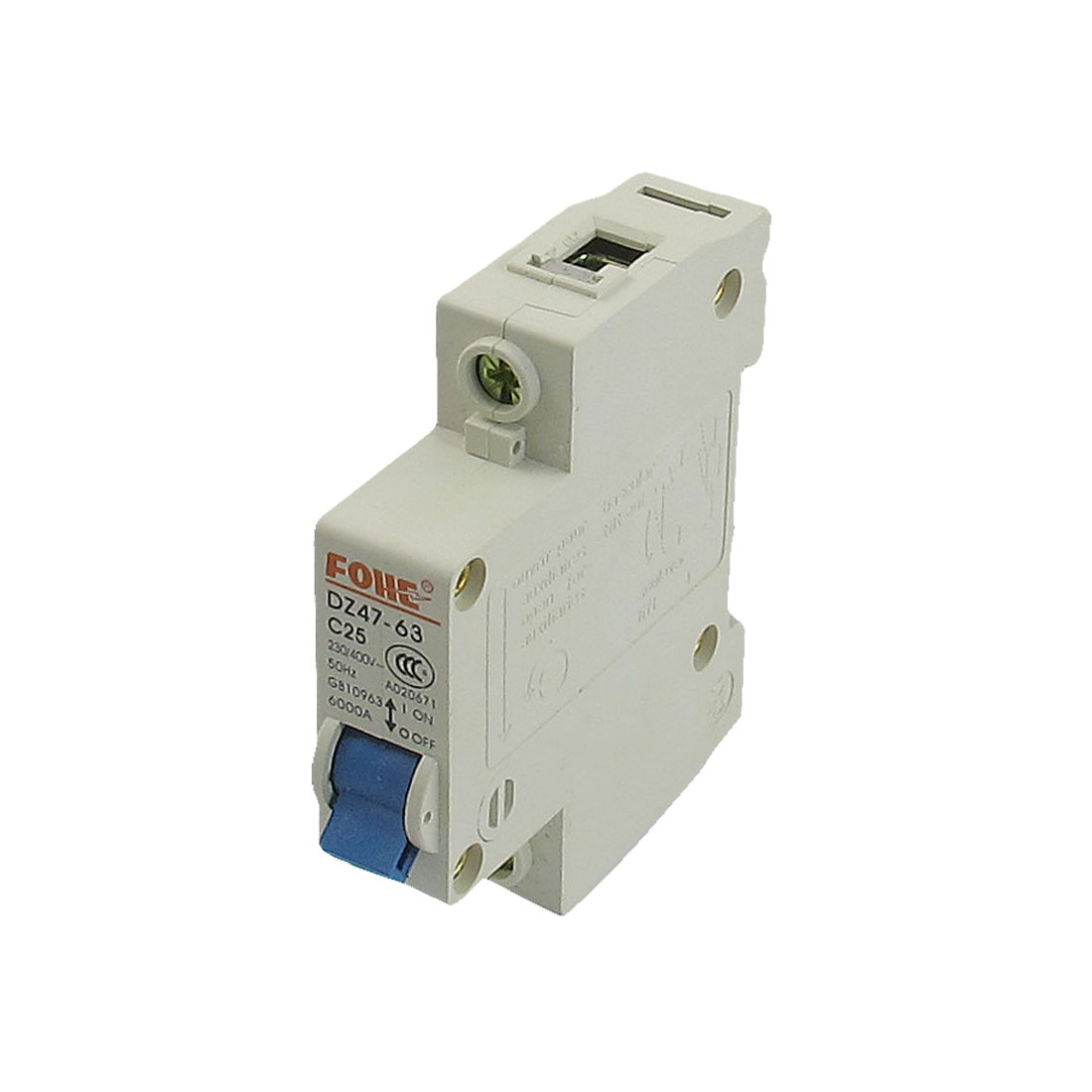 AC 230V/400V 25A Single Pole Overload Protection MCB Mini Circuit Breaker