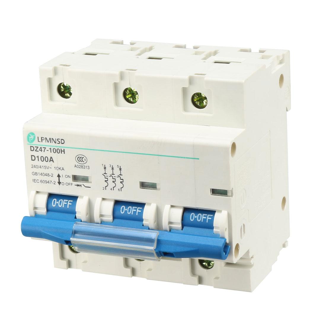 AC 400V 100A 3 Pole 3P Overload Protection Miniature Circuit Breaker