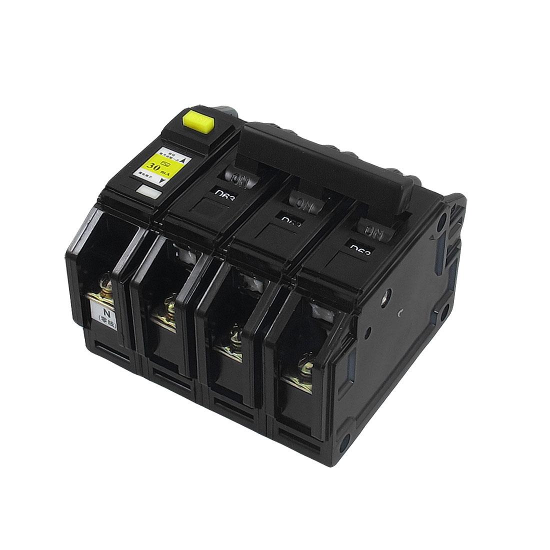 DZ12LE AC 220V/380V 63A 3P+N ELCB Earth Leakage Circuit Breaker