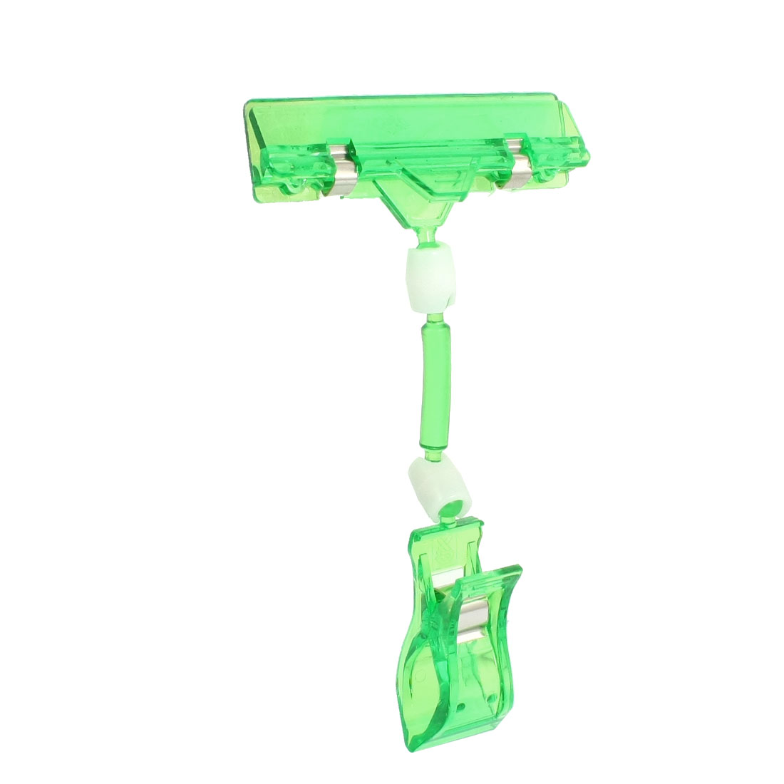 Clear Green Plastic Dual Clamps Pop Sign Card Advertising Display Clip