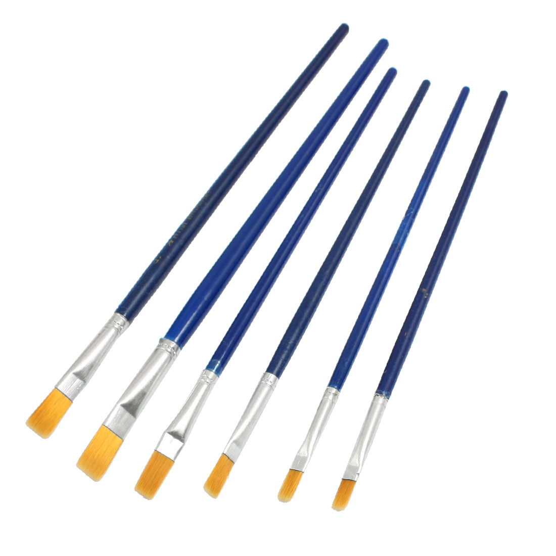 6 in 1 Blue Plastic Handle Oil Watercolor Art Drawing Painting Brushes
