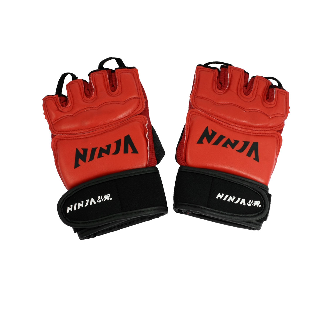 Black Red Sponge Padded Half Finger Training Boxing Gloves Pair