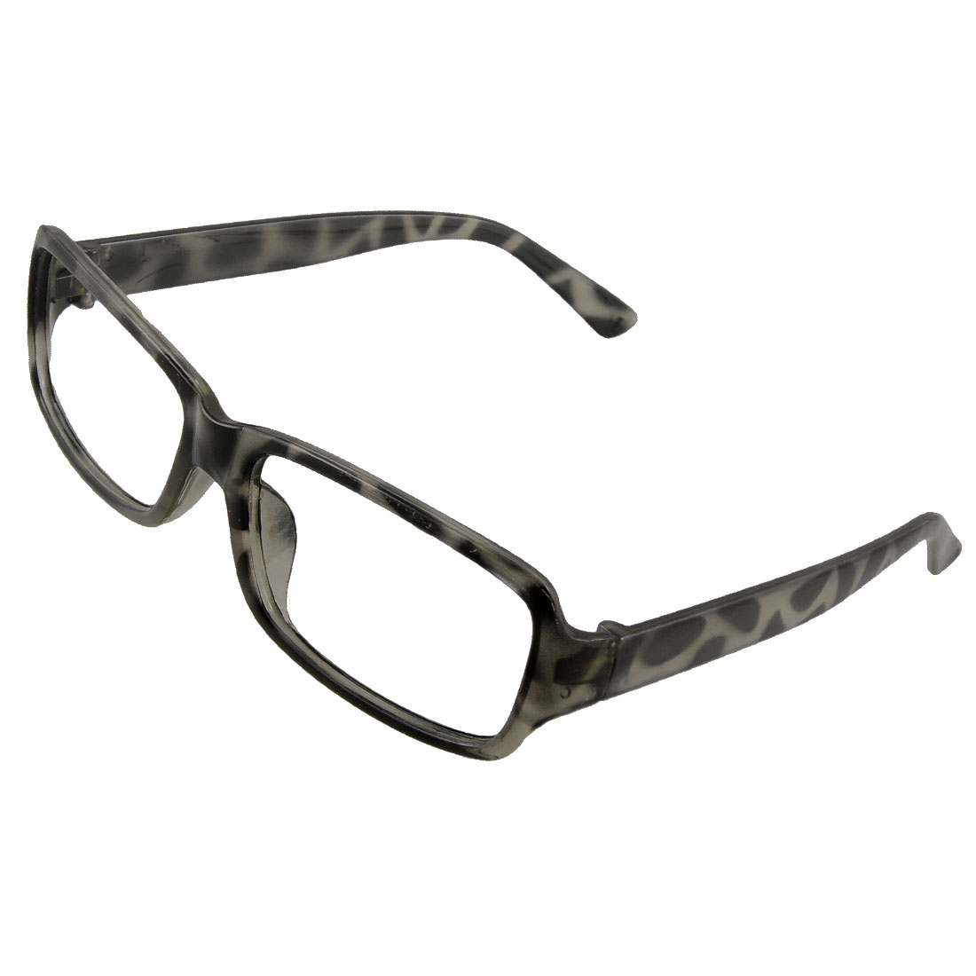 Lady Dark Grey Leopard Pattern No Lens Design Plastic Glasses Frame
