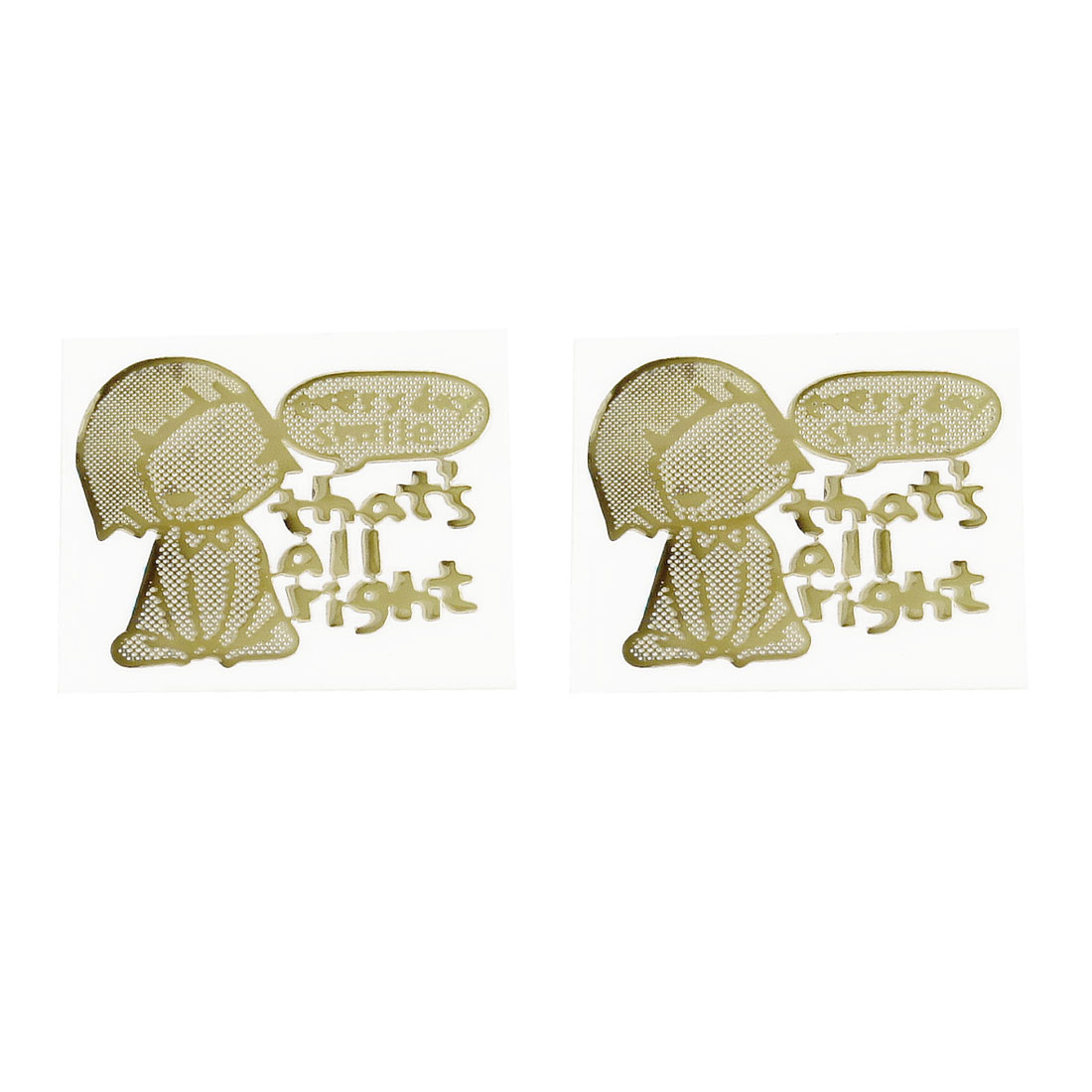 2 x Gold Plating Girl Sitting Stickers for LCD Monitor