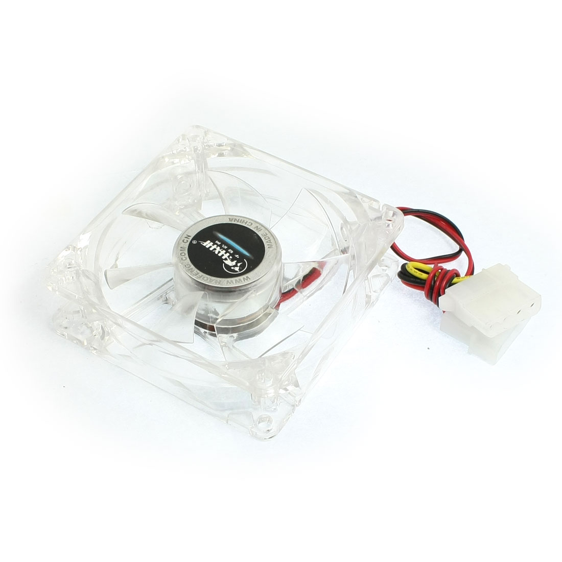 80mm x 80mm x 25mm Case Fan 12VDC 33.05CFM Cooling Fan Cooler Clear White