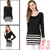 Ladies Scoop Neck Stripe Pattern Straight Cut Wrap Back Black Dress S