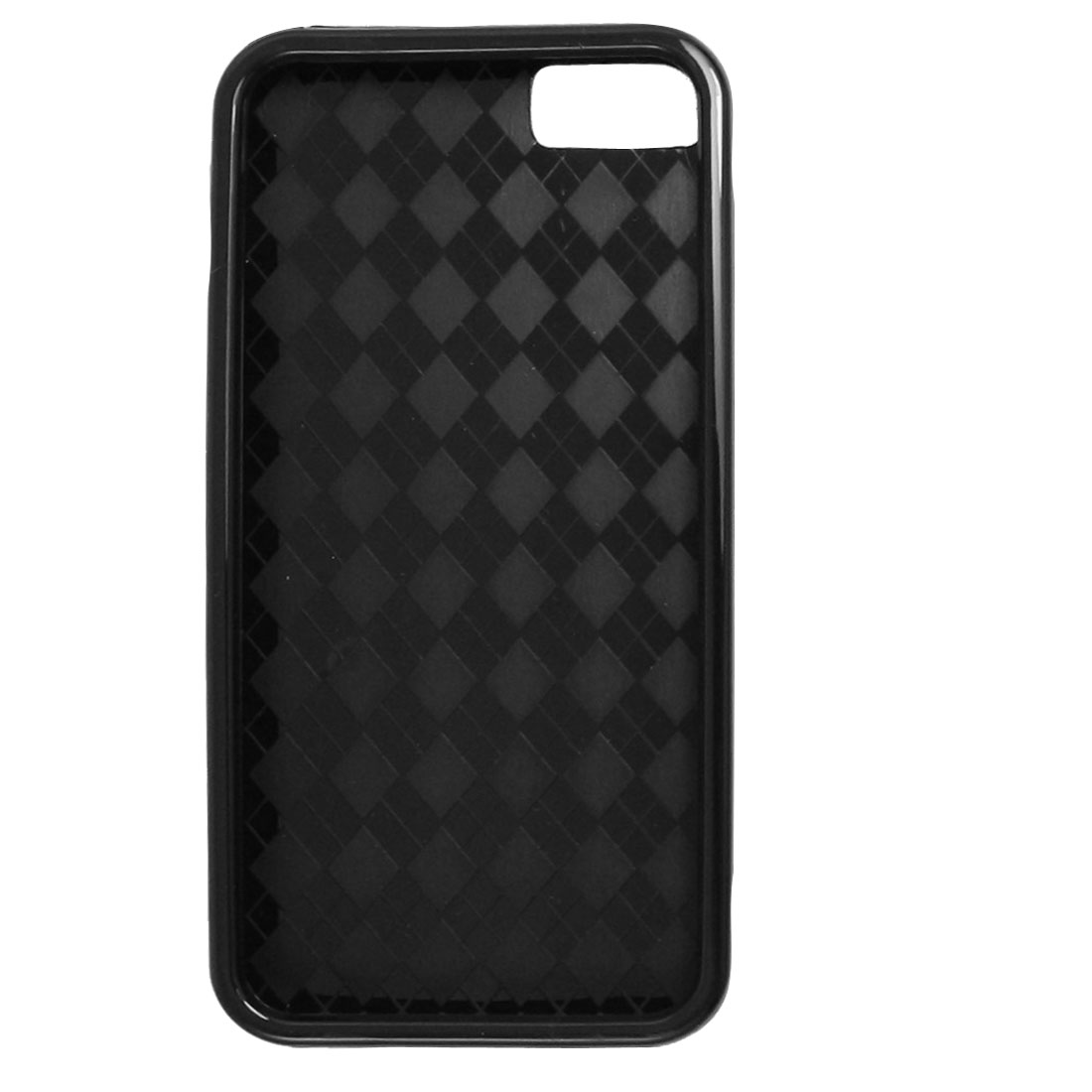 Soft Plastic Rhombus Pattern Shield Cover Case Black for iPhone 5 5G