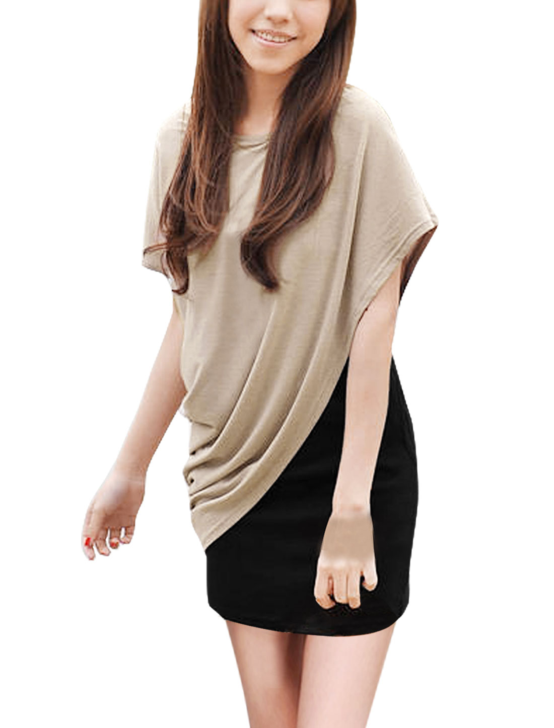 Woman Dolman Sleeve Side Shirr Blouse + Tank Dress Beige Black L
