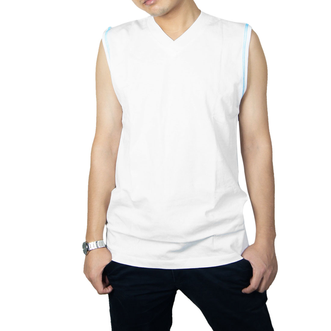 Mens Casual Summer Stretchy White Sleeveless V Neck 2012 NEW Fashion Tank Tops XS