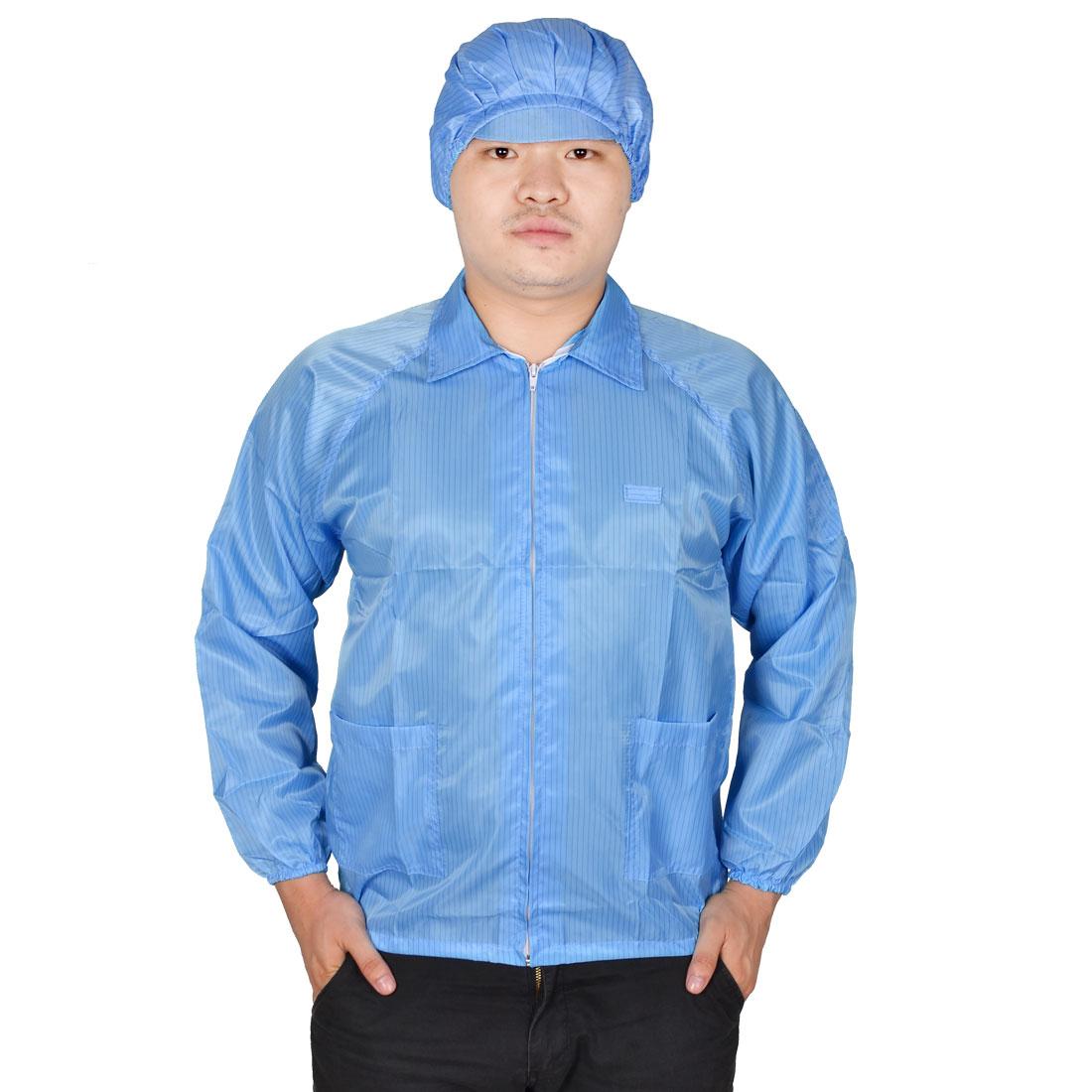 Man Lady Pinstripe Print Point Collar Anti Static Jacket Garment Blue M