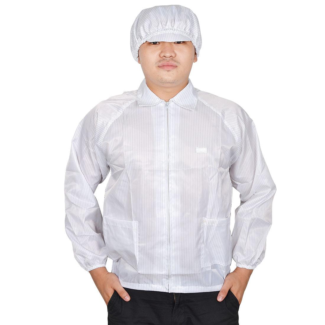 Unisex White Zipper Closure Anti Static Clean Room ESD Jacket Uniform w Cap L