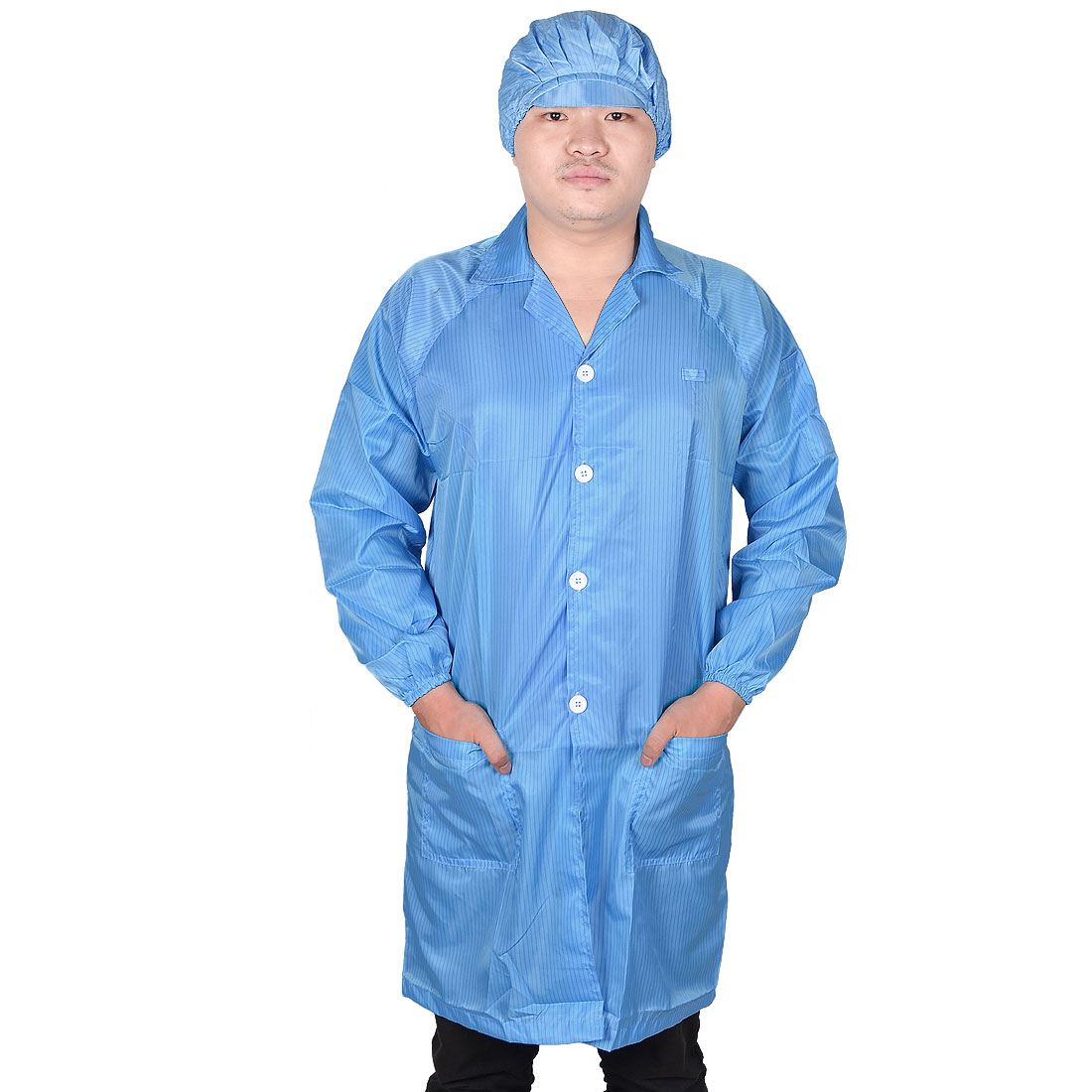 Men Women Blue Point Collar Anti Static Clean Room ESD Overall Gown w Cap XL