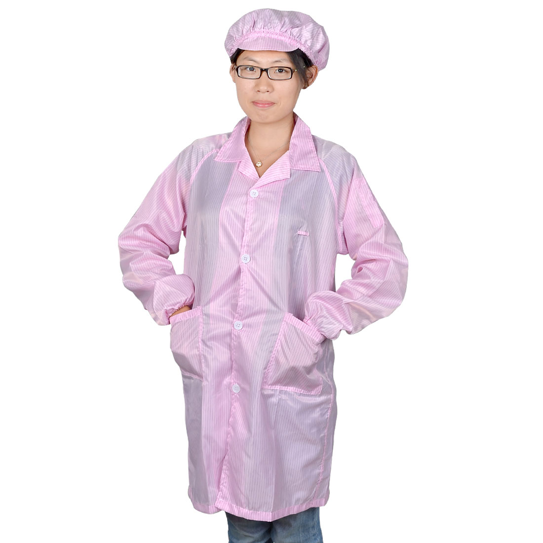 Woman Pink Long Sleeve Patch Pockets Anti Static Overall Gown Coat L