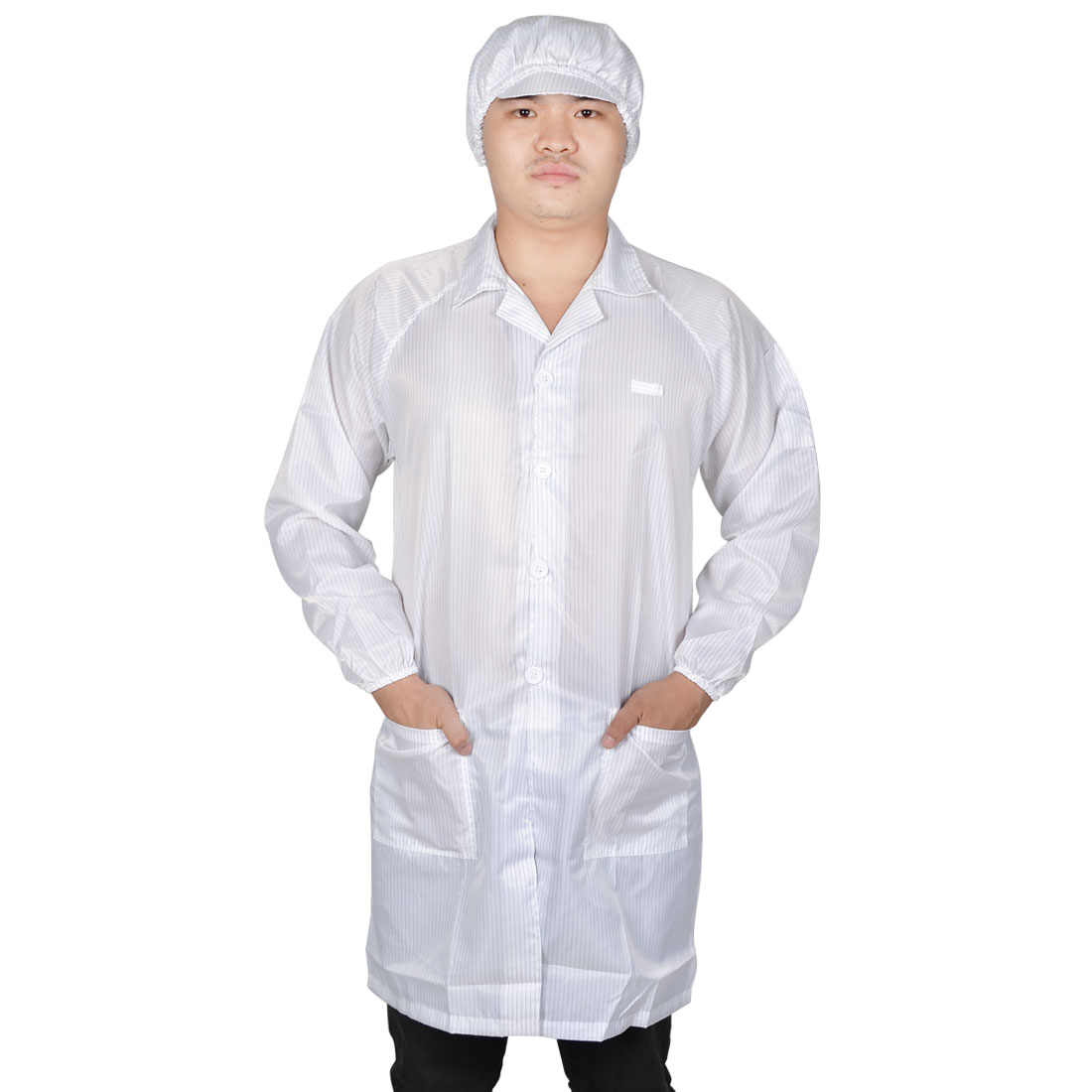Man Lady White Point Collar Anti Static Clean Room ESD Overall Gown w Cap L