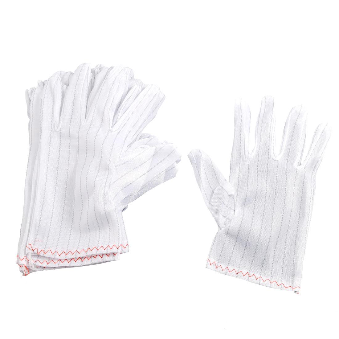 10 Pairs Elastic Anti-static Full Finger Working Gloves White