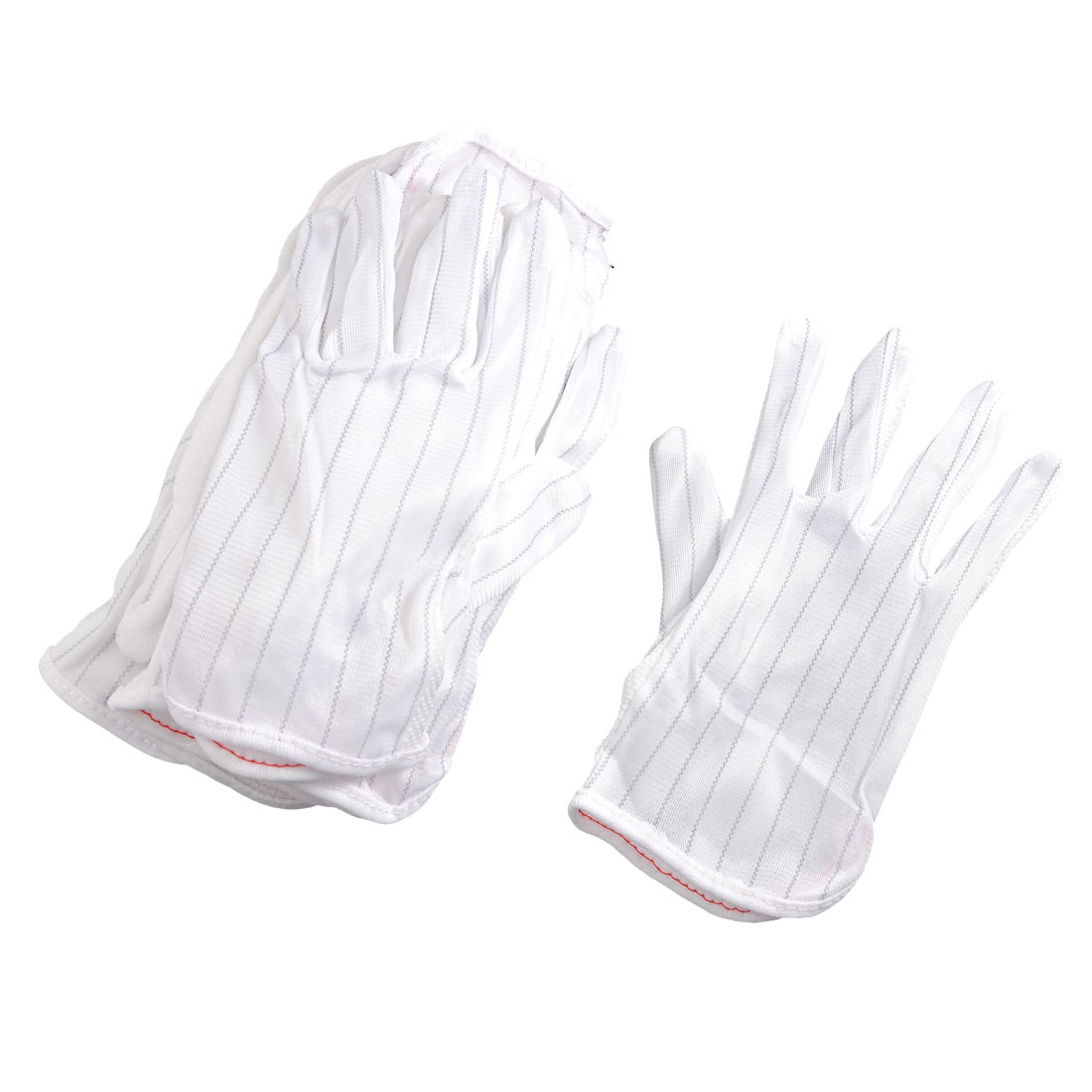 Man Woman Stripe Pattern Nonslip Anti-static Gloves White 10 Pairs