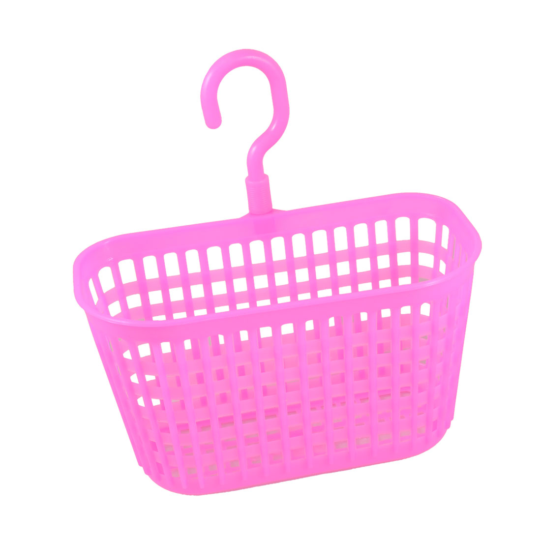 Rectangle Shaped Fuchsia Plastic Kitchen Storage Lattice Hook Basket