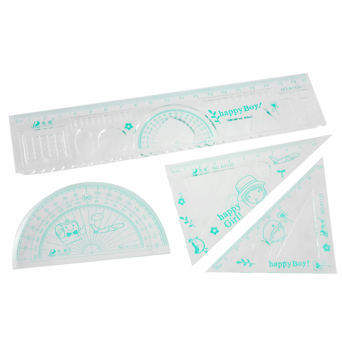 4 Pcs Kids Words Flower Printed Clear Green Plastic Student Ruler Set
