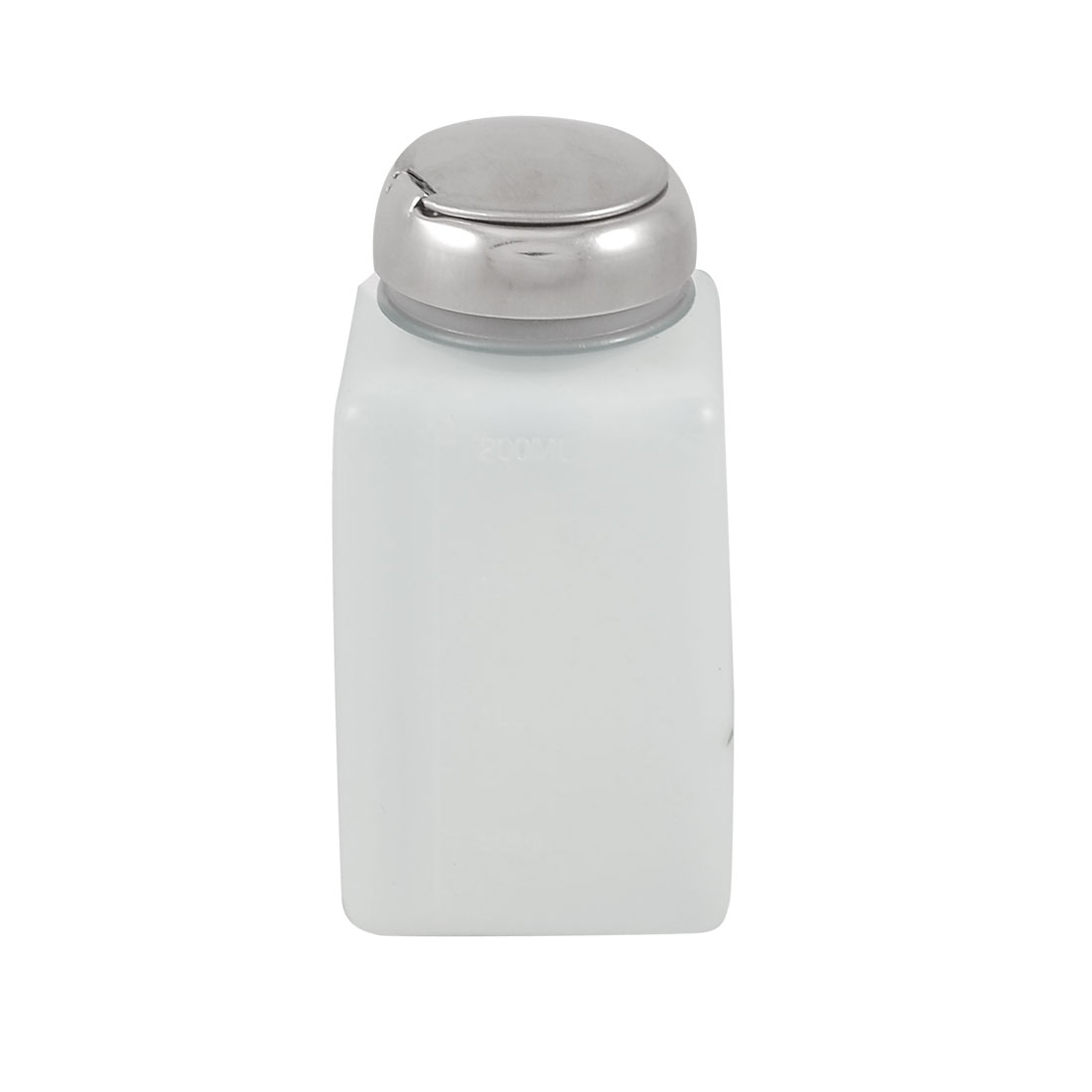Silver Tone Pump Cap White Plastic Graduated Alcohol Bottle 200ml