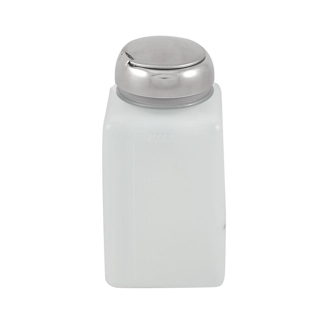 Silver Tone Pump Cap White Plastic Graduated Alcohol Bottle 200ml