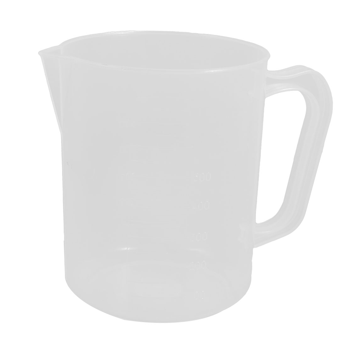 Clear White Plastic 500mL Capacity Graduated Measuring Cup with Handle