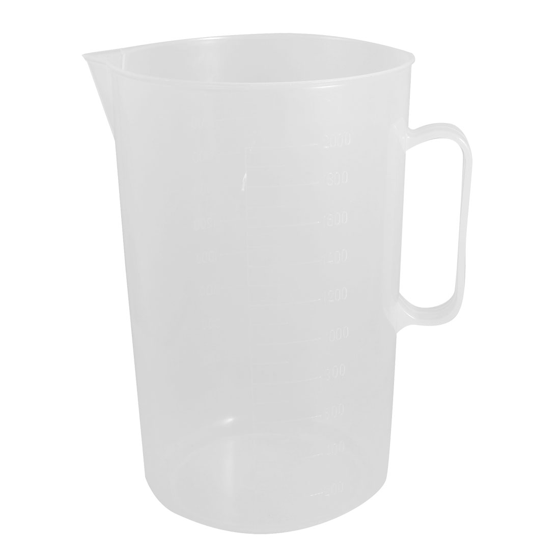Clear White Plastic 2000mL Graduated Lab Measuring Cup Mug w Handle