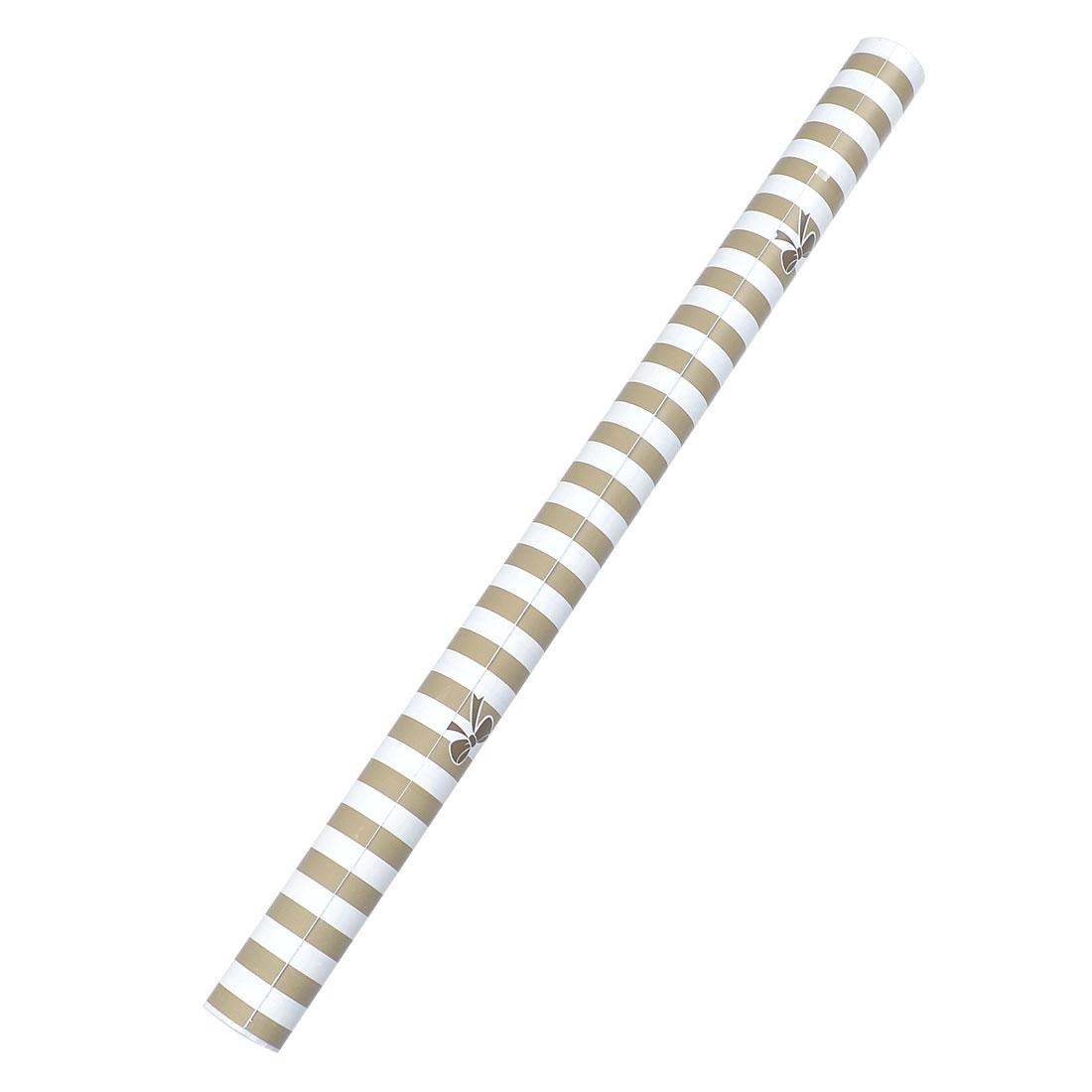 Dark Khaki Stripe Bowknot Pattern Adhesive Wallpaper Roll 45cm x 2m