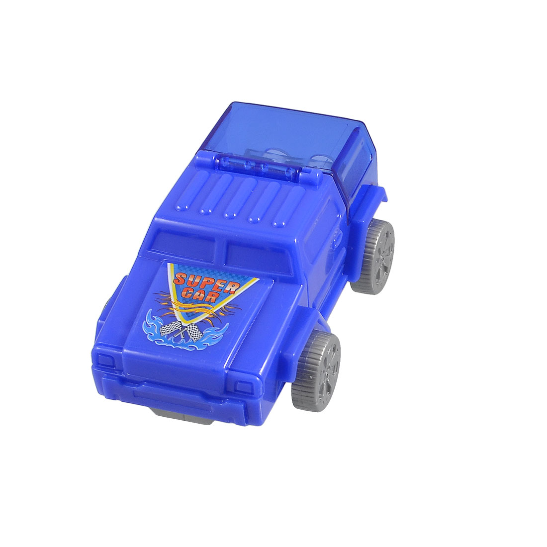 Blue Plastic Car Shaped Double Hole Design Pencil Sharpener