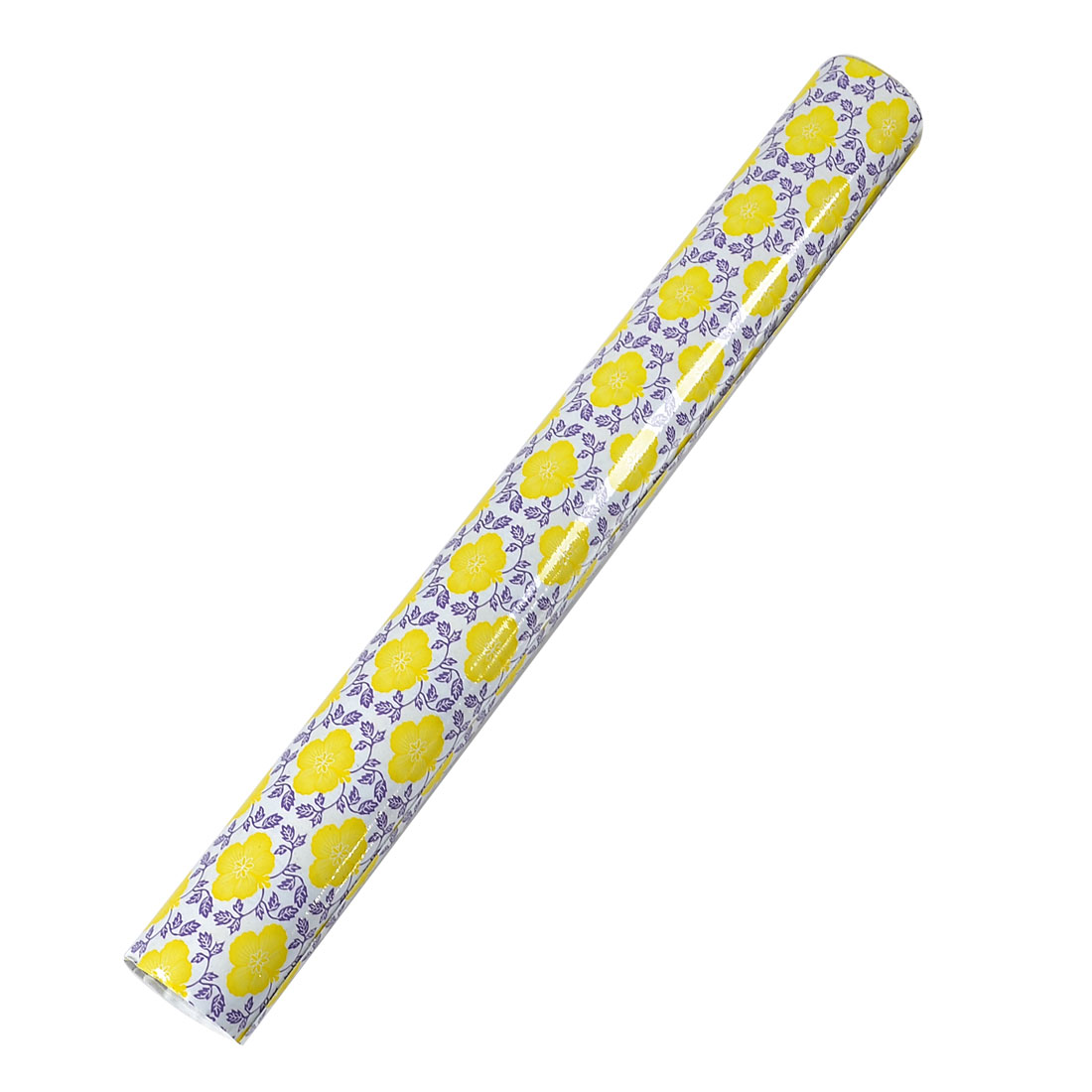 45cm x 1.8m Yellow Flower Purple Leaf Pattern Adhesive Glass Decal Film
