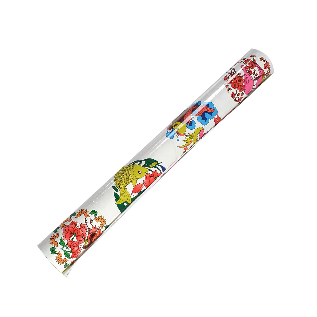 45cm x 1.8m Lotus Fish Bird Flower Printed Adhesive Window Film Roll