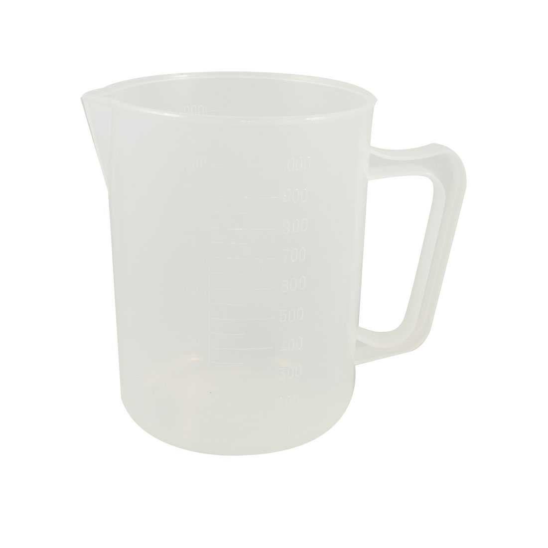 Clear White Plastic Handle Water Liquid Measuring Cup 1000mL