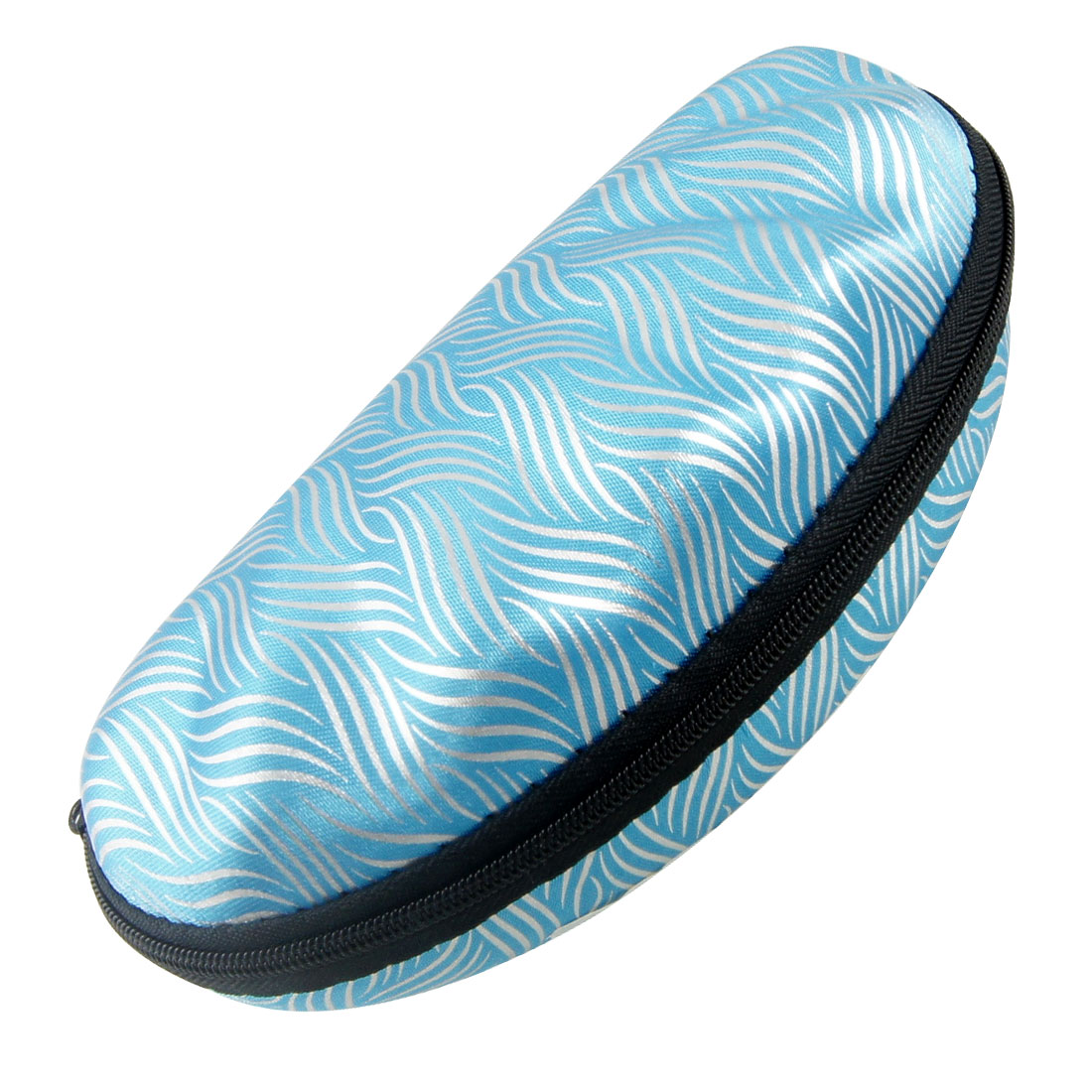 Shell Style Wave Print Zip Up Blue Nylon Eyeglasses Holder Case