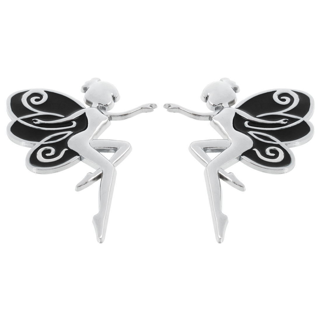2 Pcs Black Silver Tone Metal Bee Shape Auto Car Badge Stickers