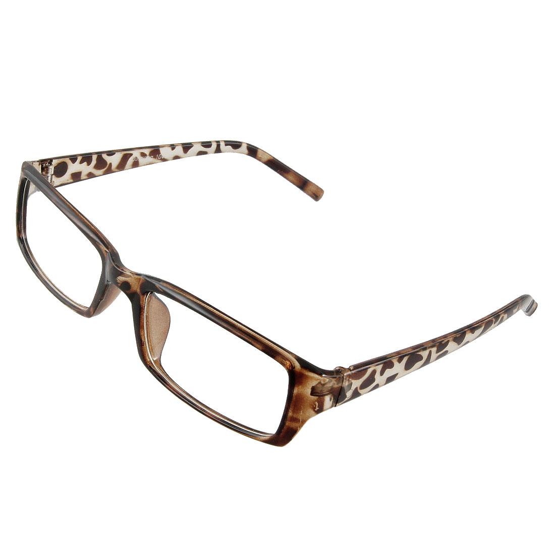Dark Brown Leopard Pattern Rectangular Full Frame Plain Glasses for Women