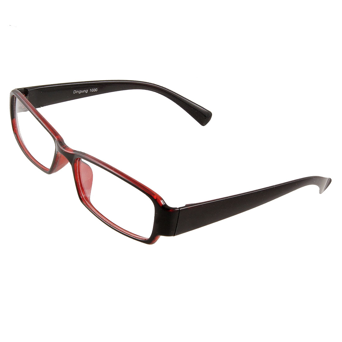 Women Rectangular Clear Lens Red Black Plastic Full Rim Frame Spectacles