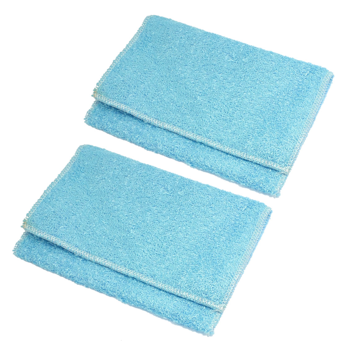"2 Pcs Blue 8.7"" x 7"" Artificial Fibre Textured Square Design Home Washcloth Towel"