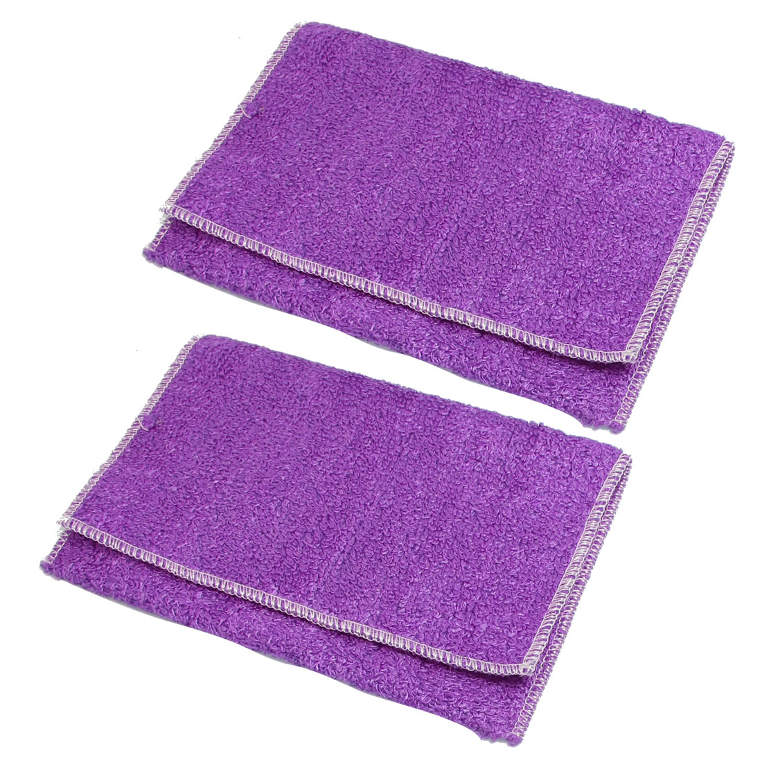 Purple Man-made Fibre Softness Hand Face Cleaning Towel Cloth 2 Pcs