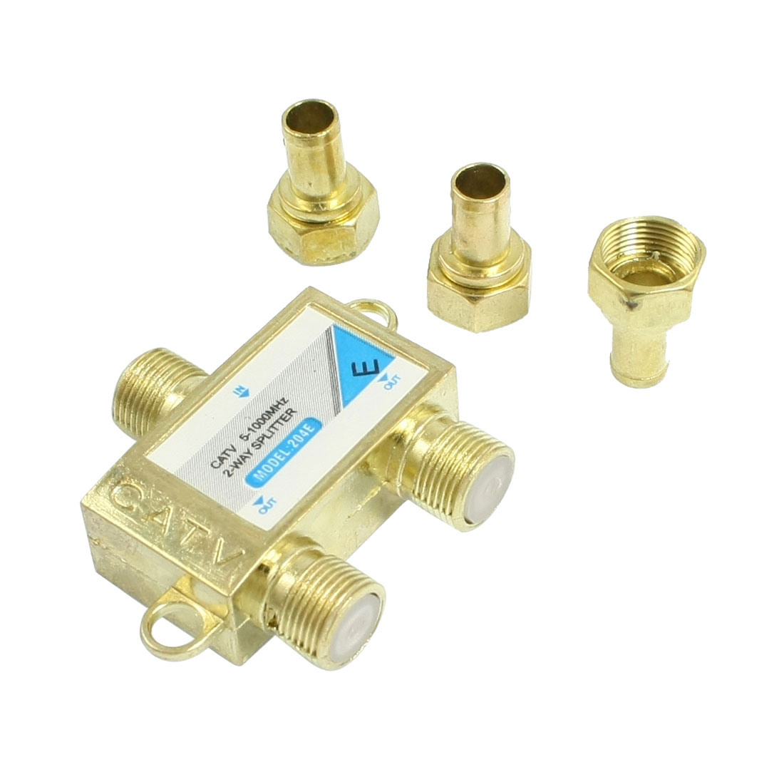 Gold Tone Digital Satellite Coaxial 2 Way CATV Directional Coupler Splitter