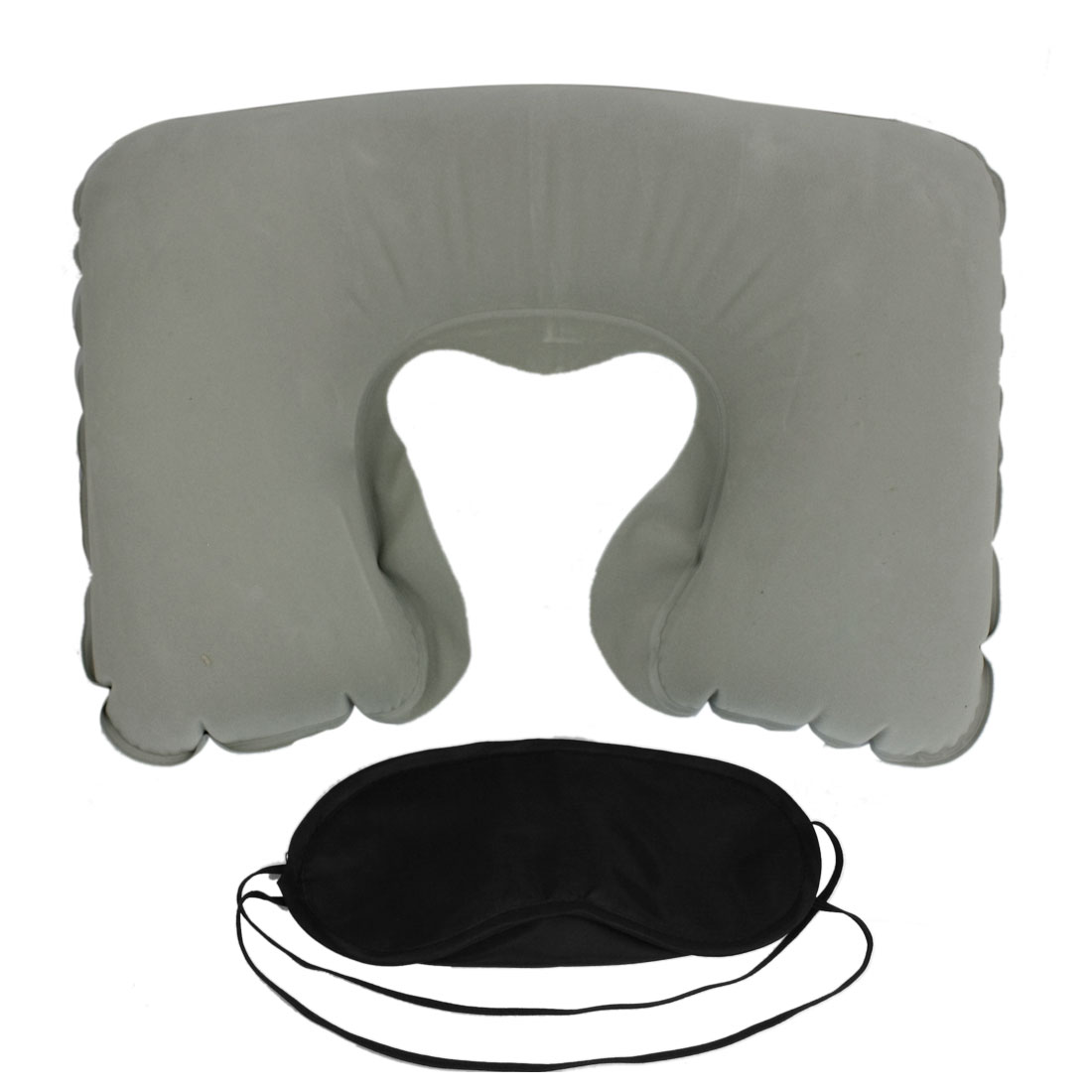 Gray Inflating Cushion Pillow + Black Eye Mask + Pair Yellow Ear Connectors