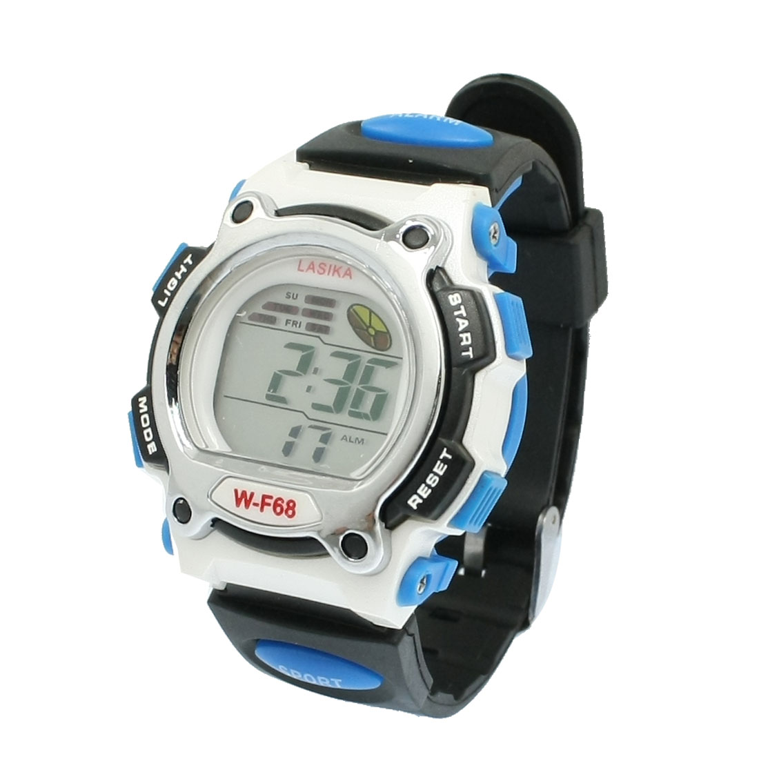 Sports Stopwatch Round Dial Digital Water Resistant Watch Black Blue