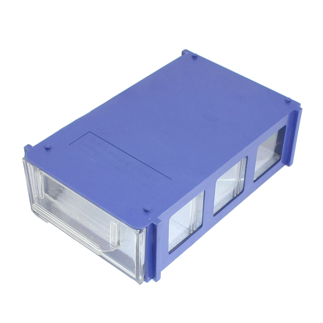 Blue Clear Three Compartments Hard Plastic Work Bin Component Box Case