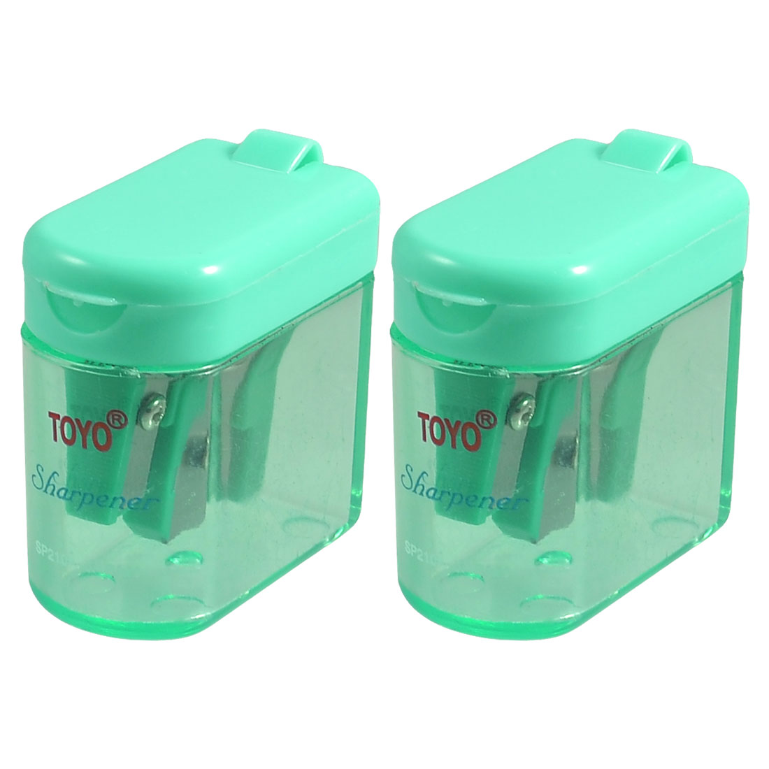 Green Clear Plastic Shell Double Holes Pencil Sharpener 2 Pcs