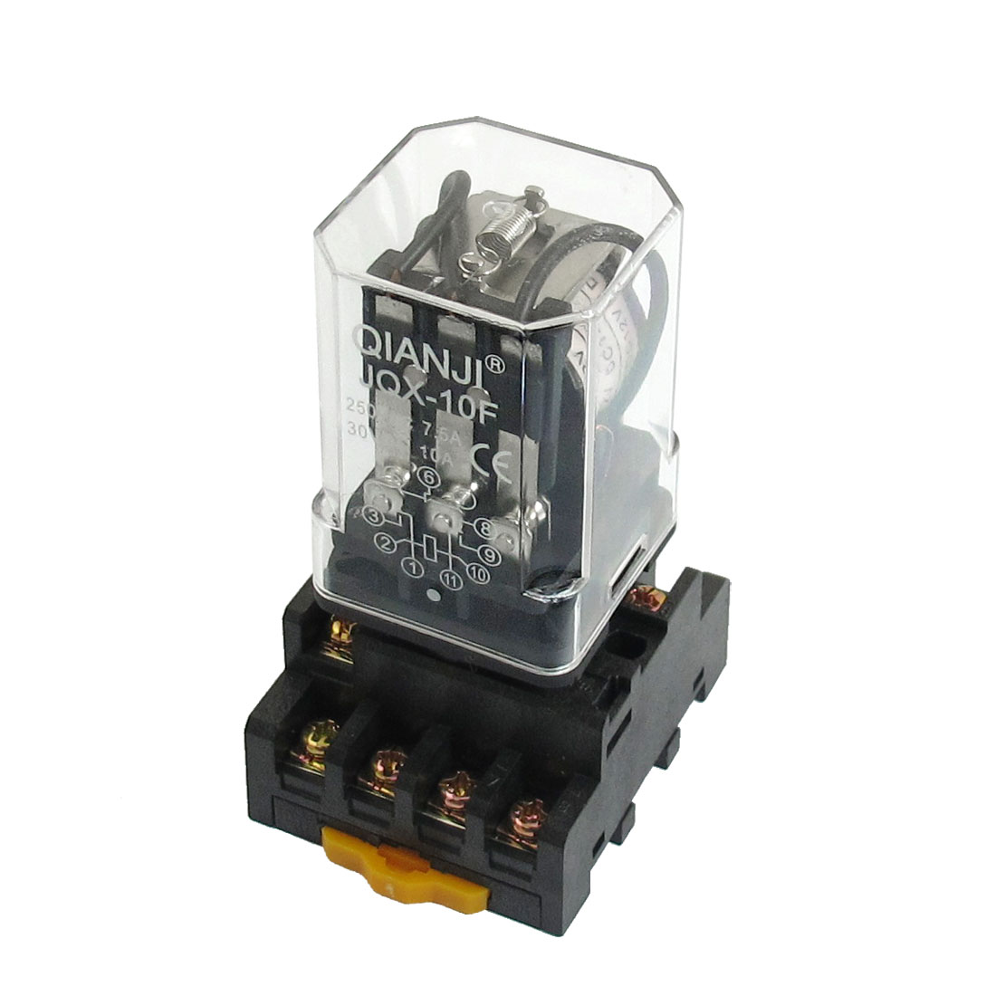 JQX-10F DC 12V Coil General Purpose Relay 11 Pin 3PDT 7.5A 250VAC 10A 30VDC w Socket