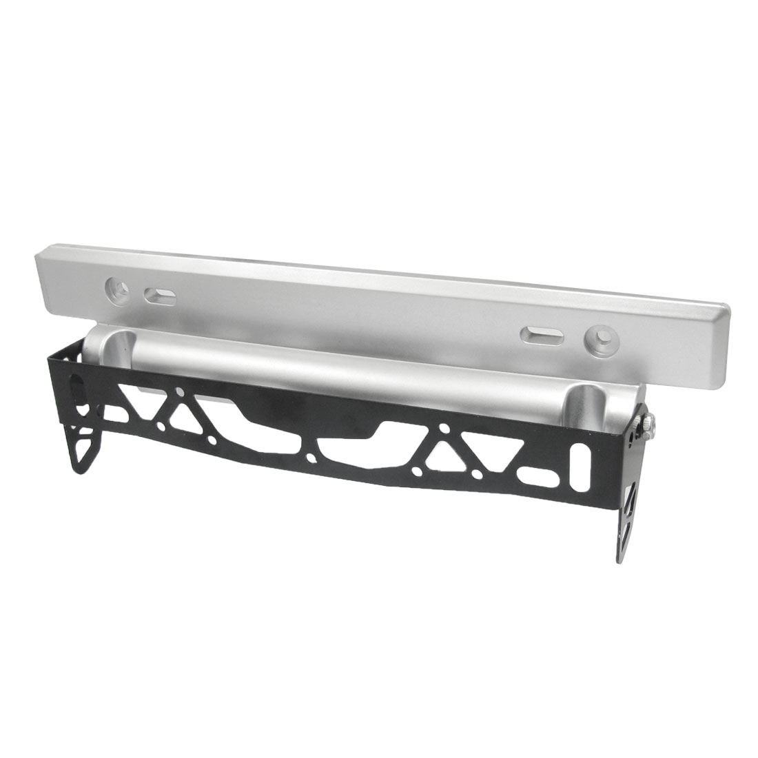 Silver Tone Black Alloy Plastic Adjustable Number Plate for Vehicle
