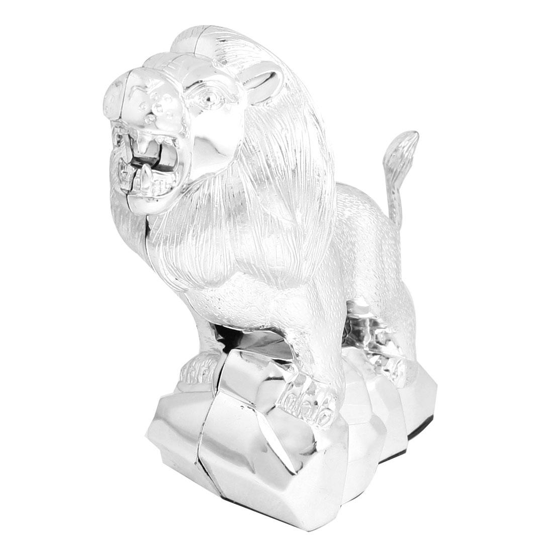 Car Silver Tone Plastic Stand Lion Design 3D Emblem Badge Sticker