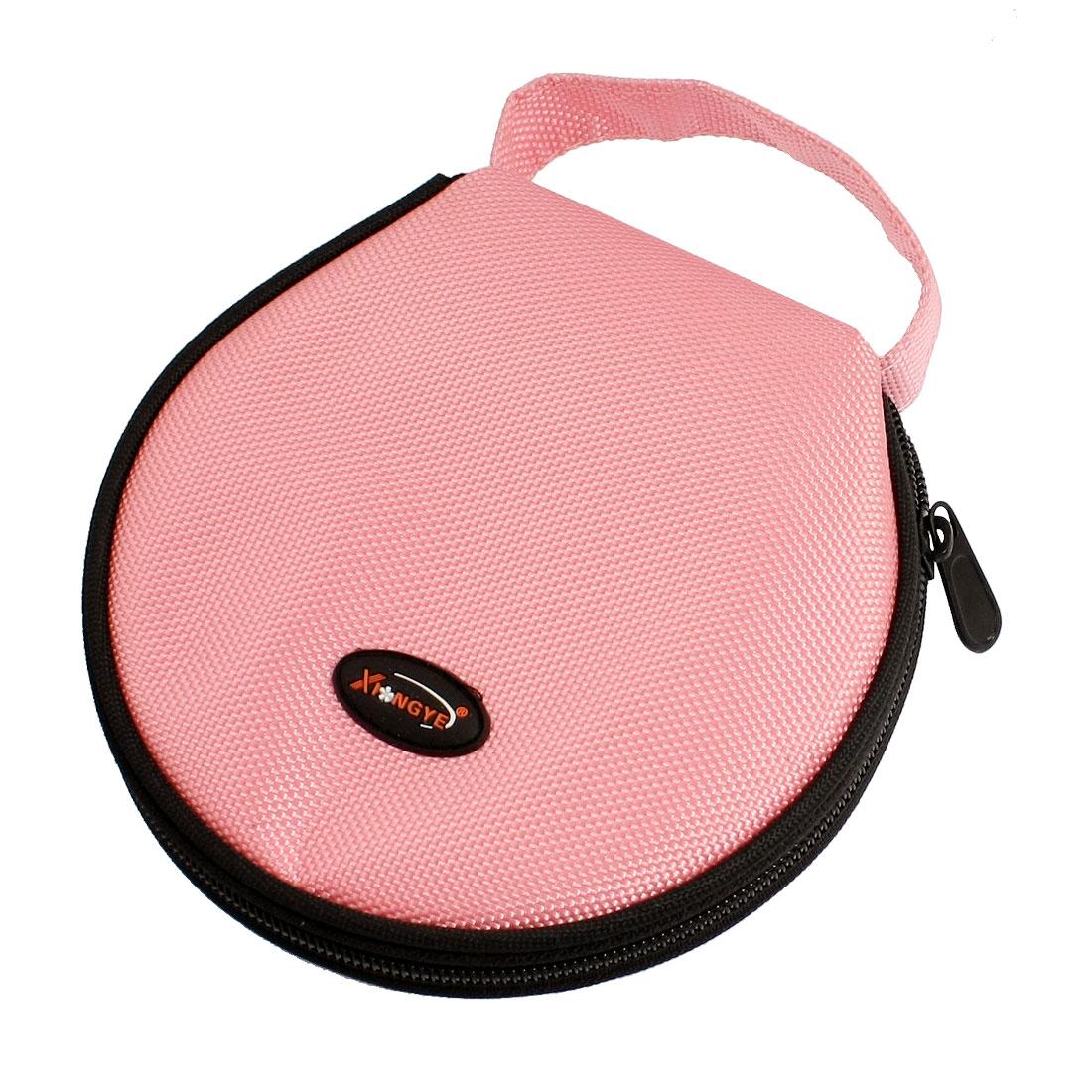 Pink Nylon Zipper Closure 20 CDs Disc Holder Bag Organizer