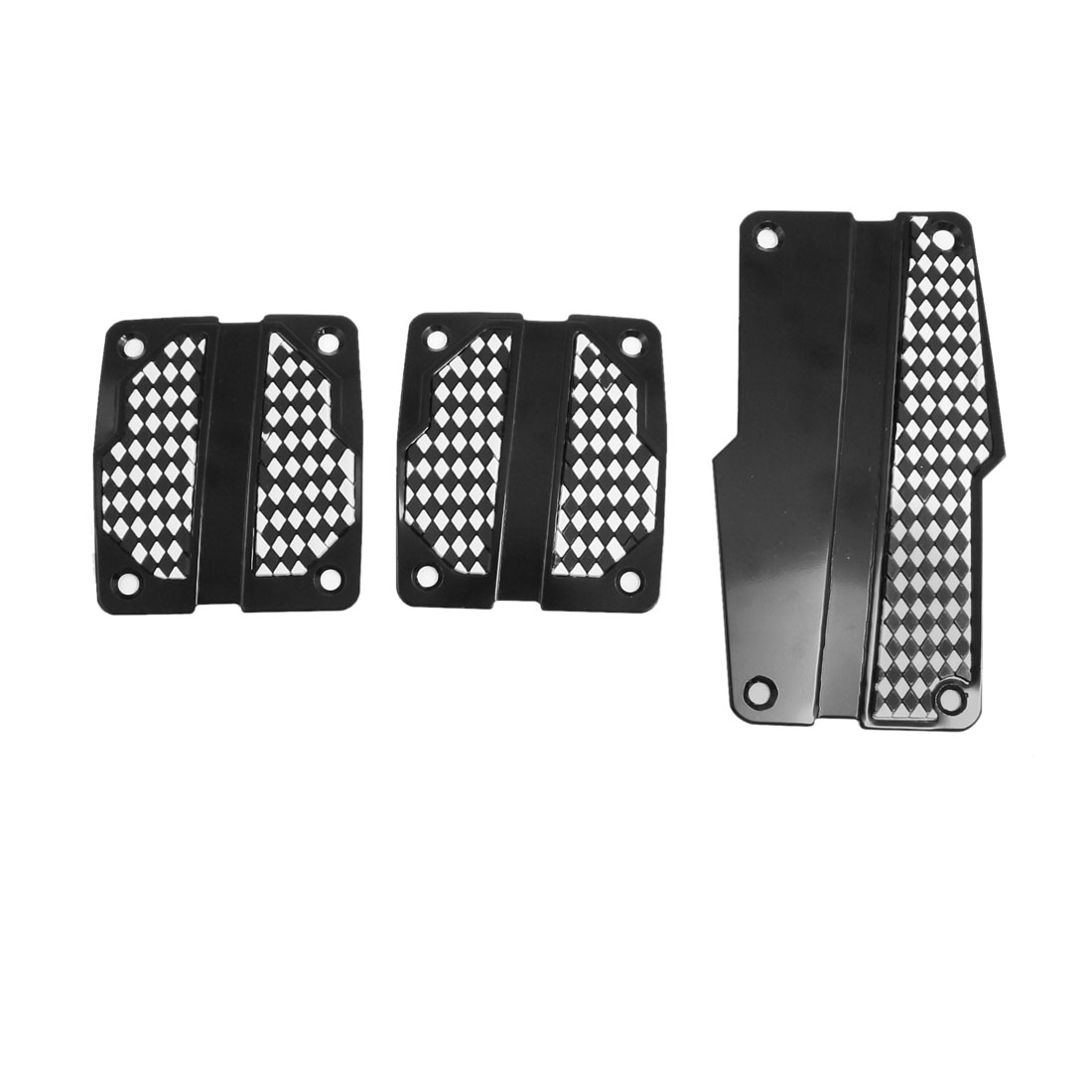 3 Pcs Car Vehicle White Black Gas Brake Clutch Pedal Cover Set